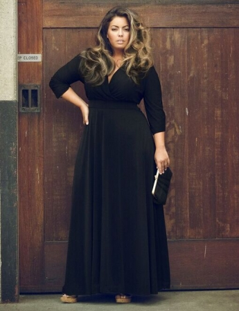 3/4 Sleeve V Neck Maxi Dress For Fat Women TLL1112-2