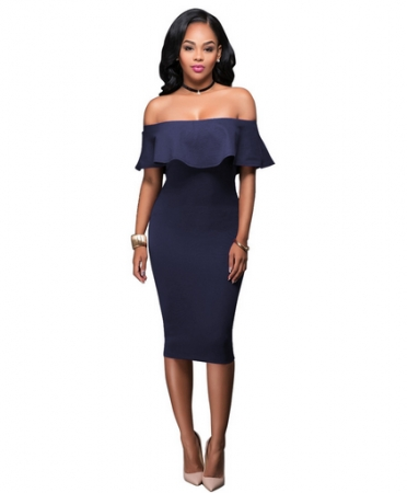 Ruffle Off Shoulder Midi Party Dress TOSM6004-9