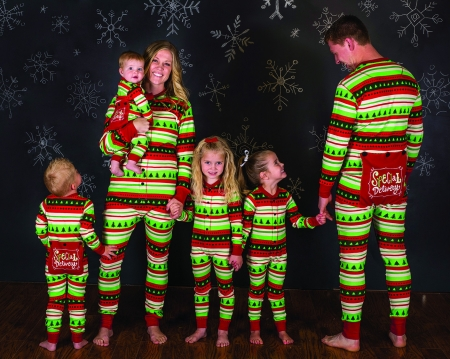 Christmas Elf Patterned Family Matching Onesie Pajamas for Adult